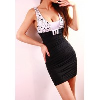 Sexy Style Rhinestone Pleated Polyester Sleeveless Color Block Dress For Women